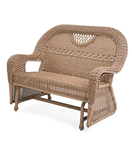 Prospect Hill Wicker Love Seat Glider, Driftwood For Sale