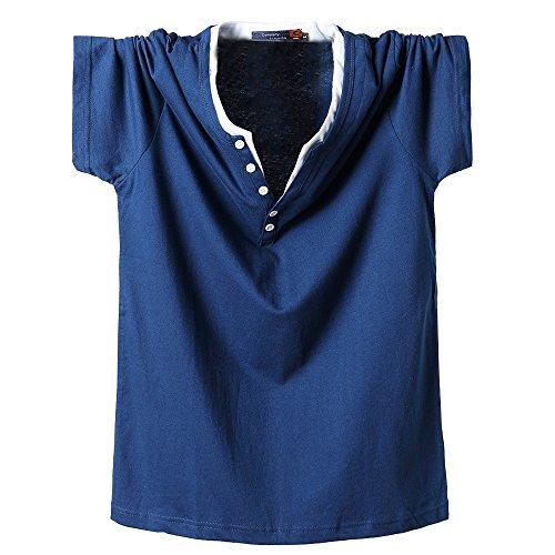 Forti Blue Gogofuture Tops Taglie Tunica Pulsante Corta Classico shirt Con Bluse Stampa Popolare Maglietta collo T Estive Lettera Manica Uomo Allentato V Casual xq1XBqC