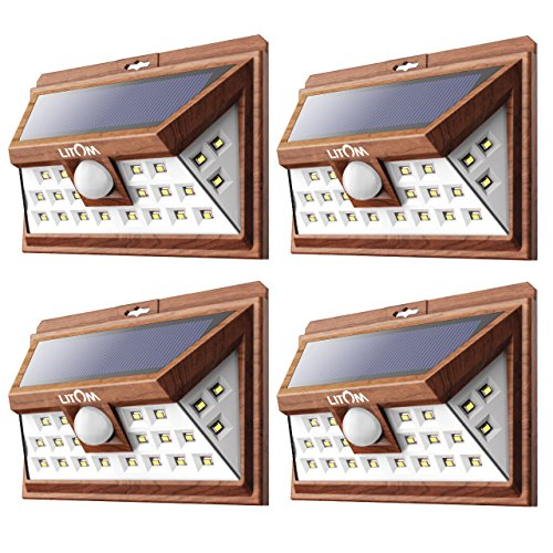 LITOM Solar Lights Outdoor, Wireless 24 LED Motion Sensor Solar Lights with Wide Lighting Area, IP65 Waterproof Security Lights for Porch, Deck, Backyard, Front Door, Garage(4 Pack)