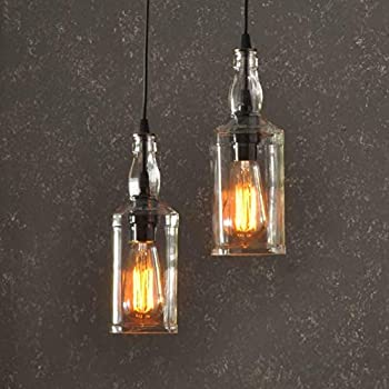 The Warehouser Industry Recycled Whiskey Bottle Pendant Lamp With Customizable Metal Finish and Vintage Style Edison Lightbulbs - Industrial Ceiling Light