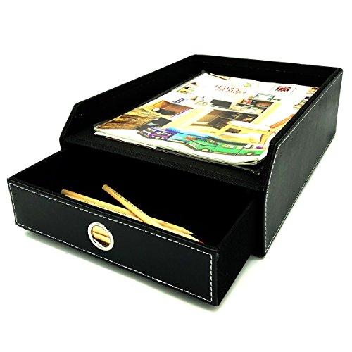 UnionBasic PU Leather Office File Document Tray Case Rack Desk File Document Organizer Holder (Black (2-Layer))