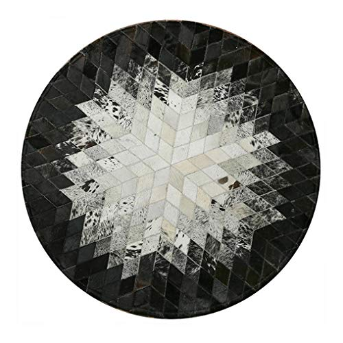 FYD-xml Texas Star Patch Work Cowhide Area Rug, Modern Creative Black and White Abstract Stripe Patchwork Cowskin Carpet, Natural Cowhide Round Carpet, Cloakroom Bedroom Bedside Carpet,Round1.2m/4'