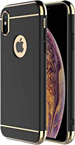 """iPhone X Case,iPhone Xs Case,RORSOU 3 in 1 Ultra Thin and Slim Hard Case Coated Non Slip Matte Surface with Electroplate Frame for Apple iPhone X/Xs (5.8"""") - Black and Gold"""