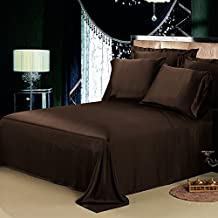 LILYSILK 4pcs Silk Bedding Set Flat Sheet Fitted Sheet and Pair of Pillowcases-Chocolate, Queen