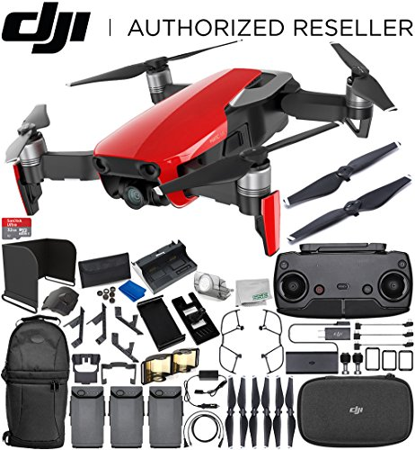 DJI Mavic Air Drone Quadcopter (Flame Red) 3-Battery Ultimate Bundle