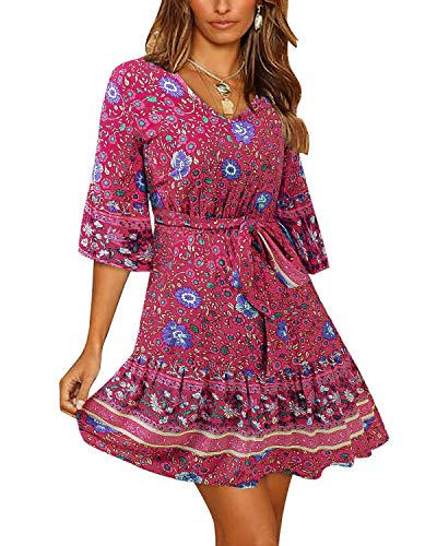 BONESUN Women Floral Printed Tunic Dress,Ruffles Casual Party Shift Short Dress with Belt Red - Tunic Neck Jewel Cotton