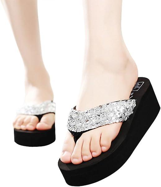 1a6924123857e MUYAOO Women s Sequins Flip Flops Wedge Sandals Platform Sandals Beach  Slippers