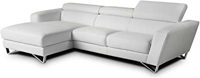 J&M Furniture Sparta Mini Left Hand Facing Sectional Sofa in White