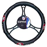 15 X 15 Inches NFL 49ers Steering Wheel Cover, Football Themed Three Sides Team Logo Name Rubber Grip Sports Patterned, Team Logo Fan Merchandise Athletic Team Spirit, Red Gold Black White, Pvc