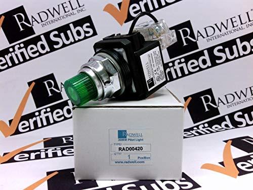 RADWELL VERIFIED SUBSTITUTE 9001KT1G31SUB Pilot Light - 30MM Push-to-Test Pilot Light, 120V Transformer, (LED), Green 1NO/1NC