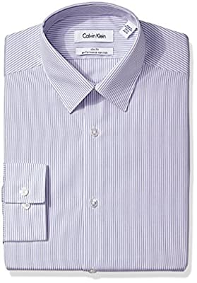 Calvin Klein Men's Slim Fit Non Iron Stripe Shirt