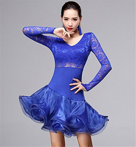 Professionnelle Couleurs À Autres Longues Femme Robe Manches Danse Blue Latine De dzq41w
