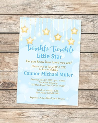 Amazon Com Twinkle Twinkle Little Star Baby Sip And See Invitation