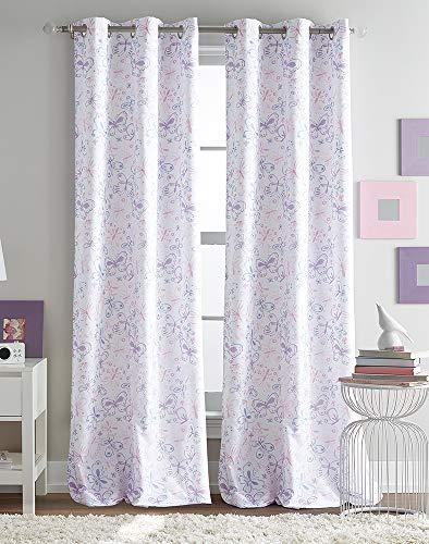 (Peri Kids Butterfly Watercolor Room Darkening Grommet Curtain Panel Pair )