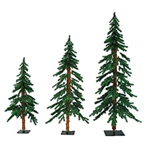 3 Ft., 4 Ft., 5 Ft. Artificial Christmas Tree Set   Classic PVC Tips    Timberline Alpine   Pre Lit With Clear Mini Lights   Barcana 71 205 345 01    3 Pack