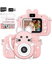 Hangrui Kindercamera, digitale camera kinderen selfie fototoestel kinderen met 2,0-inch groot scherm 1080p HD 20MP ingebouwde 32GB SD-kaart camera kinderen voor 3-12 jaar verjaardag kinderen (roze)