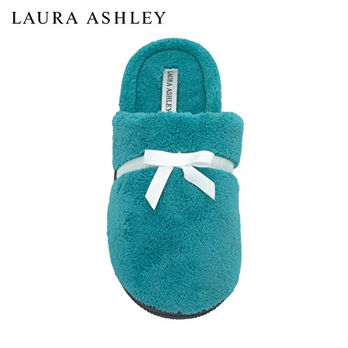 Laura Ashley Ladies Soft Terry Slip On Slippers (See More Colors & Sizes) Atlantic Green 1zwMFhX2pA