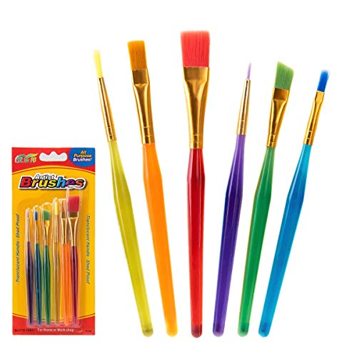Assorted Sizes Children's Paint Brushes, fuumuui 6Pcs Different Sizes Colorful Artist Paint Brush Set for Beginner Kids Painting ()