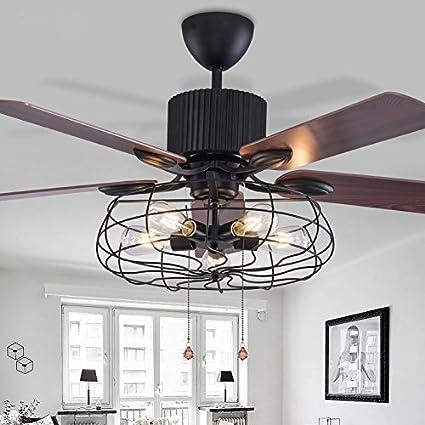 Rétro style cage ventilateur de plafond télécommande salon intérieur chambre bar muet rétro ventilateur lustre composite lame réversible (5 lumières 5