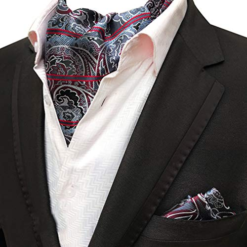 (MOHSLEE Men Silver Red Paisley Striped Cravat Ties Woven Ascot Pocket Square Set)
