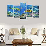 Custom Custom Oil Painting Print Tropical Underwater Ocean Fishes Reef Canvas Print Bedroom Wall Canvas Decoration Hotel Fashion Design Wall Art 5 Piece Oil Paintings Canvas (No Frame)