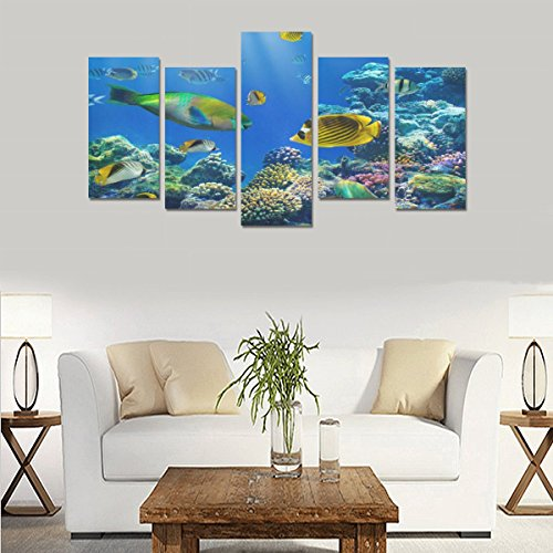 Custom Custom Oil Painting Print Tropical Underwater Ocean Fishes Reef Canvas Print Bedroom Wall Canvas Decoration Hotel Fashion Design Wall Art 5 Piece Oil Paintings Canvas (No Frame) by sentufuzhuang Canvas Printing