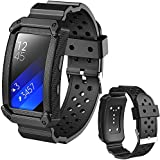 X4-TECH Silicone Bands for Gear Fit2 Watch Soft Silicone Replacement Elastomer Band Plastic Wristband for Samsung Galaxy Gear Fit 2 SM-R360 Smart Watch (New-Black)