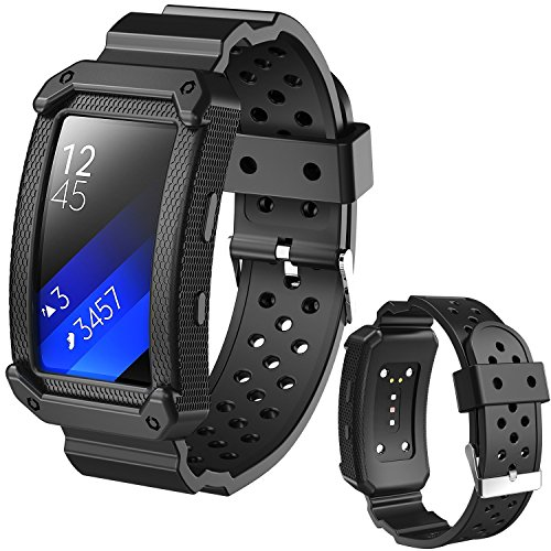 (X4-TECH Silicone Bands Gear Fit2 PRO Watch Soft Silicone Replacement Elastomer Band Plastic Wristband Compatible with Samsung Galaxy Gear Fit 2 SM-R360 Smart Watch (New-Black))