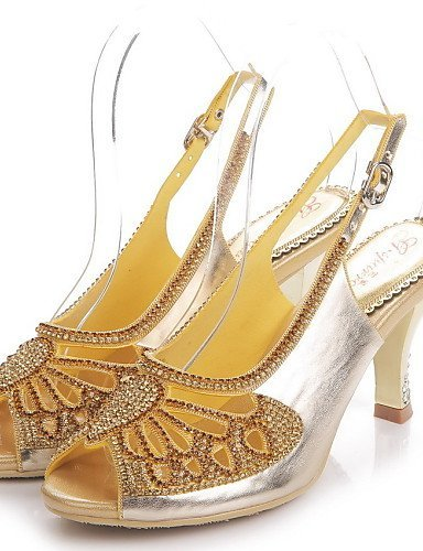 ShangYi Womens Shoes Leather Stiletto Heel Heels / Peep Toe Sandals Party & Evening / Dress / Casual Black / Purple / Gold Black