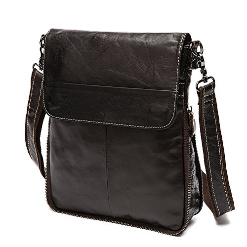 Stepack Marke Original Leder Herren Bote Schulter Tasche Aktentasche, Dunkel Kaffee