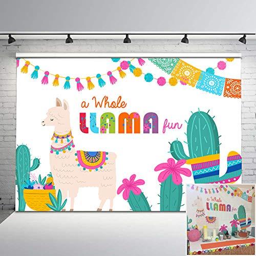 Mehofoto Fiesta Llama Backdrop A Whole Llama Fun Birthday Backdrops Llama Party Cactus Below Mexican Theme Background for Birthday Baby Shower Decorations Supplies -