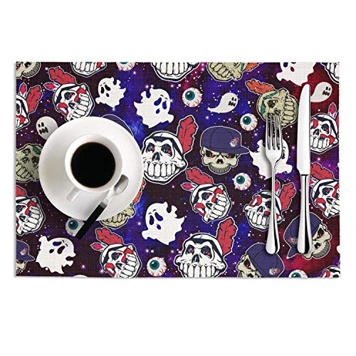 Quinnteens Washable Table Mats Cleveland Indians_Skull Baseball Art Non-Slip Insulation Placemat (2pcs placemats,12x18 inch)