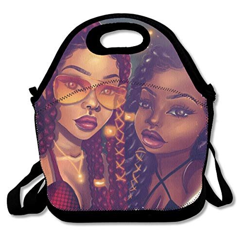 SARA NELL Neoprene Lunch Bag Afro Black Mom and Daughter African American Women Lunch Tote Bags Lunch Backpack Lunchbox Handbag with Adjustable Shoulder Strap for Work School Outdoor Picnic
