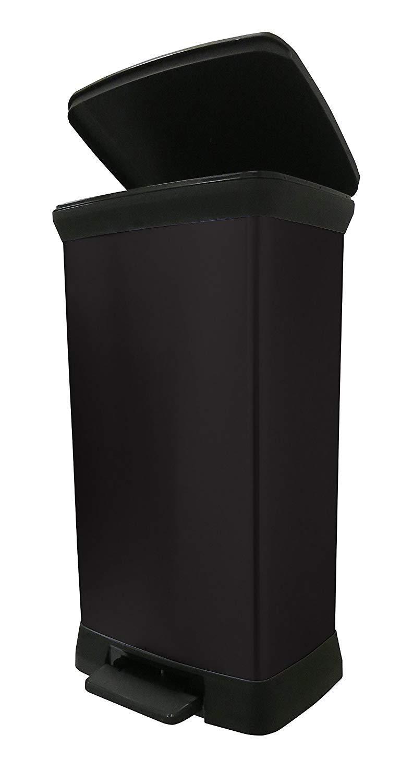 CURVER 50 L Metall Effekt Kunststoff-Fußtritt Touch Deco Bin, schwarz, 39 x 29 x 72 cm