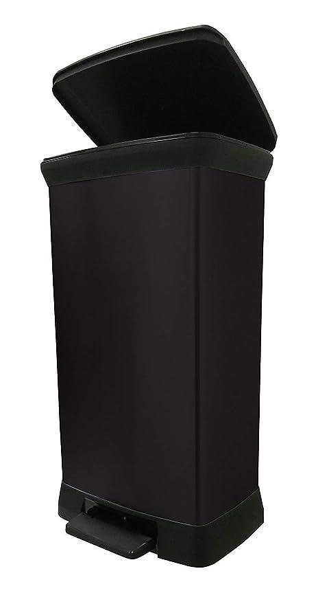 CURVER 187180 - Cubo de Basura con Pedal (Efecto Metal, 50 L), Color Negro