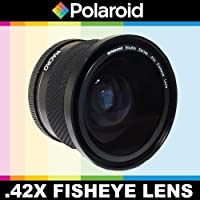 Polaroid Studio Series .42x High Definition Fisheye Lens With Macro Attachment, Includes Lens Pouch and Cap Covers For The Nikon D40, D40x, D50, D60, D70, D80, D90, D100, D200, D300, D3, D3S, D700, D3000, D5000, D5100, D3100, D7000 Digital SLR Cameras Which Have Any Of These (18-55mm, 55-200mm, 50mm) Nikon Lenses