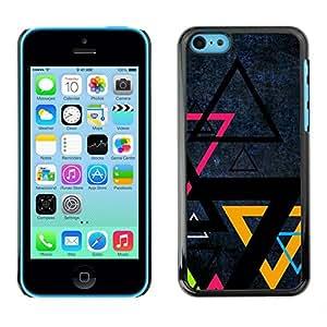 Cubierta de la caja de protección la piel dura para el Apple iPhone 5C - Triangle Color Art