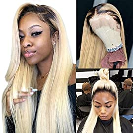 613 Blonde Wig Free Part 13×4 Human Hair Lace Front Wigs Silky Straight Pre-Plucked Hairline 150% Density Lace Wigs Full…