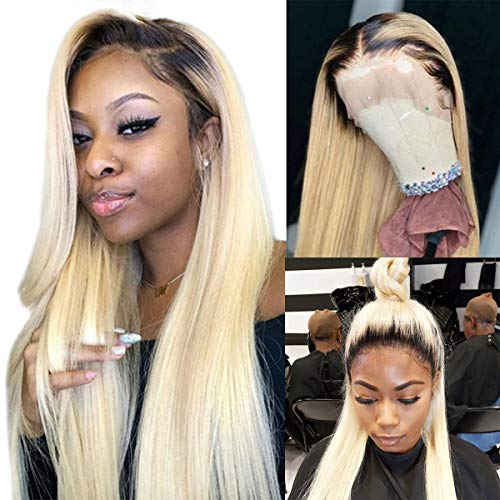 Long Straight Blonde Wig Human Hair Ombre 613 Lace Front Wigs Half Hand Tied 150% Density Silky Straight Lace Wigs with Baby Hair 100% Brazilian Remy Hair 24 Inch (Wig Human Hair Ombre)