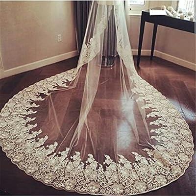 Newdeve 3M 1T Long White Bridal Veils for Bride Lace Edge