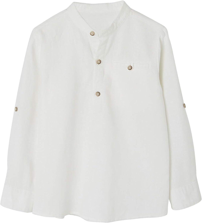 VERTBAUDET Camisa de Lino/algodón para niño con Cuello Mao, de Manga Larga Blanco Claro Liso 5A: Amazon.es: Ropa y accesorios