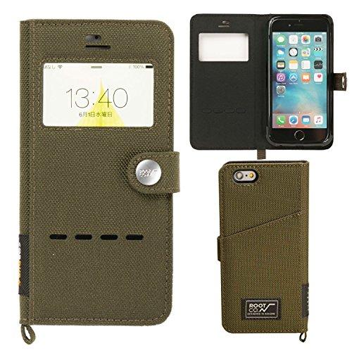 【ROOT CO.】 iPhone 7 iPhone 8 カバー 窓付き 手帳型 iPhoneケース 耐衝撃 米軍 MIL規格 Gravity Shock Resist Diary Case. /Window Flip/(カーキ)(Qi充電非対応)(iPhone7/8兼用?旧パッケージ)