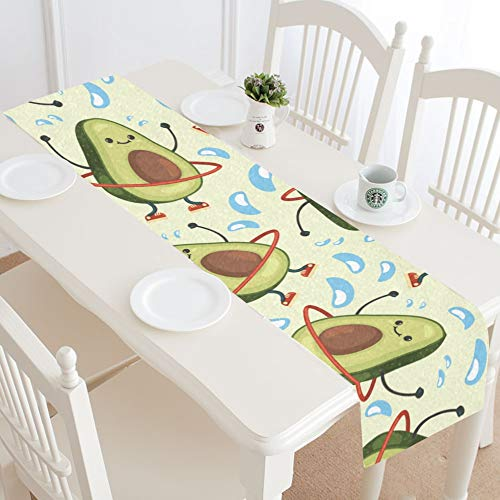 WUwuWU Hula Hoop Design Style Cute Cartoon Table Runner Kitchen Dining Table Runner 16x72 Inch for Dinner Parties Events Decor