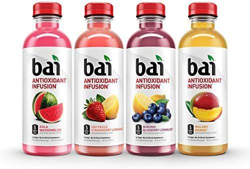 Bai Flavored Water, Oasis Variety Pack, Antioxidant Infused, 18 Fluid Ounce Bottles, 12 count, 3 each of Burundi Blueberry Lemonade, Sao Paulo Strawberry Lemonade, Kula Watermelon, Malawi Mango