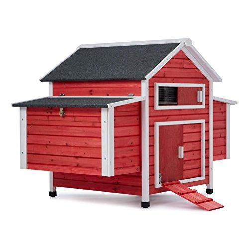 oneConcept Villa Hahnenkamm Hühnerstall Hühnerhaus (gebeizte Holzwände, aufklappbare Dachteile, herausziehbarer Boden, Schiebetür und Schiebefenster mit Gitter, großer Hauptraum) schwarz-rot
