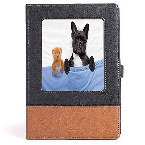 Animal Decor - Composition Book/Notebook - French Bulldog Sleeping with Teddy Bear in Cozy Bed Best Friends Fun Dreams Image - 100 sheets/200 pages - A5/6.04x8.58 in