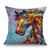 Throw Pillow Cover 18 x18 Oil Painting Colorful Vivid Horse Blue Brown Fall Winter Home Decor Invisible Zipper Durable Decorative Cushion Cover Pillow Case Sofa Couch Bedroom Living Room Dorm Car