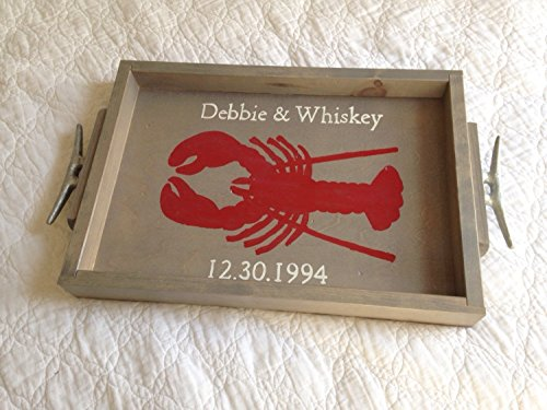 Personalized Lobster Wooden Tray - personalized wedding gift, nautical tray