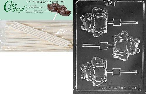 Cybrtrayd 45St50-A136 Frog Pop Animal Chocolate Candy Mold with 50 4.5-Inch Lollipop Sticks
