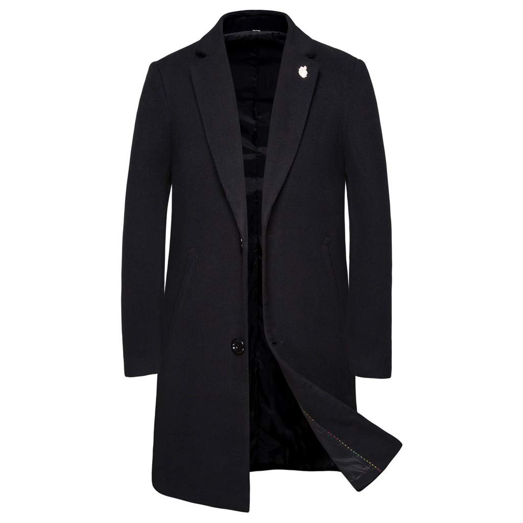 DDLmax Men's Casual Trench Coat Fashion Business Long Slim Fit Jacket Single Breasted Business Top Coat Black